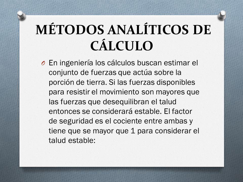 MÉTODOS ANALÍTICOS DE CÁLCULO