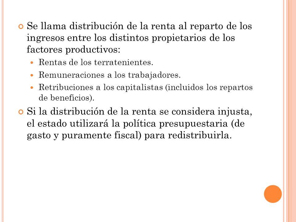 Se llama distribución de la renta al reparto de los ingresos entre los distintos propietarios de los factores productivos: