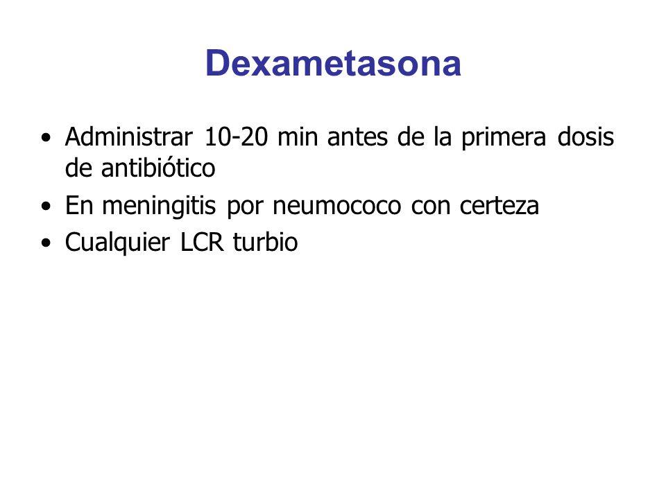 Dexametasona Administrar 10-20 min antes de la primera dosis de antibiótico. En meningitis por neumococo con certeza.