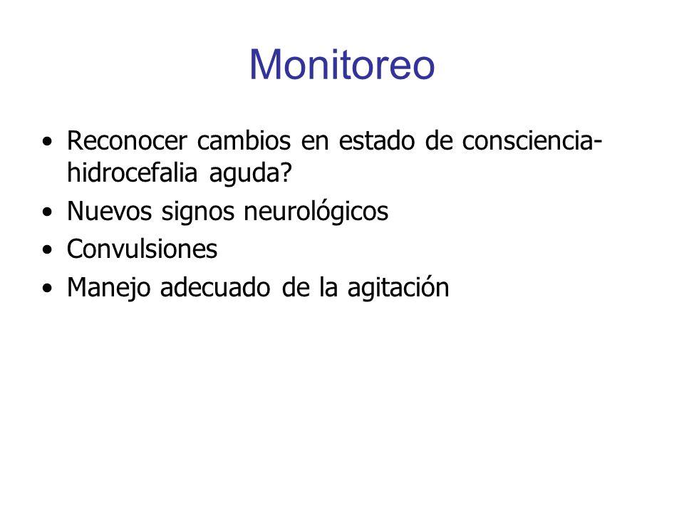 Monitoreo Reconocer cambios en estado de consciencia- hidrocefalia aguda Nuevos signos neurológicos.