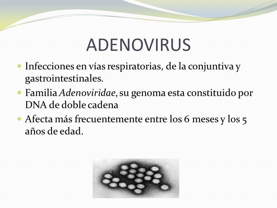 ADENOVIRUS Infecciones en vías respiratorias, de la conjuntiva y gastrointestinales.