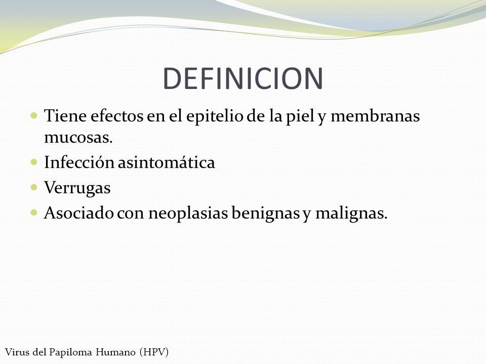 DEFINICION Tiene efectos en el epitelio de la piel y membranas mucosas. Infección asintomática. Verrugas.