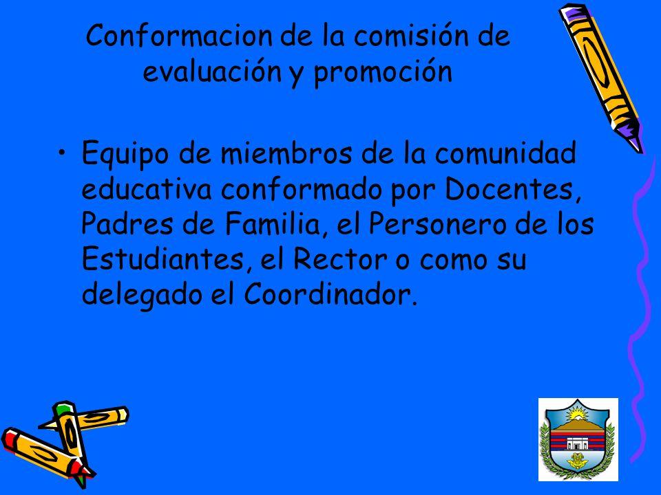 Conformacion de la comisión de evaluación y promoción
