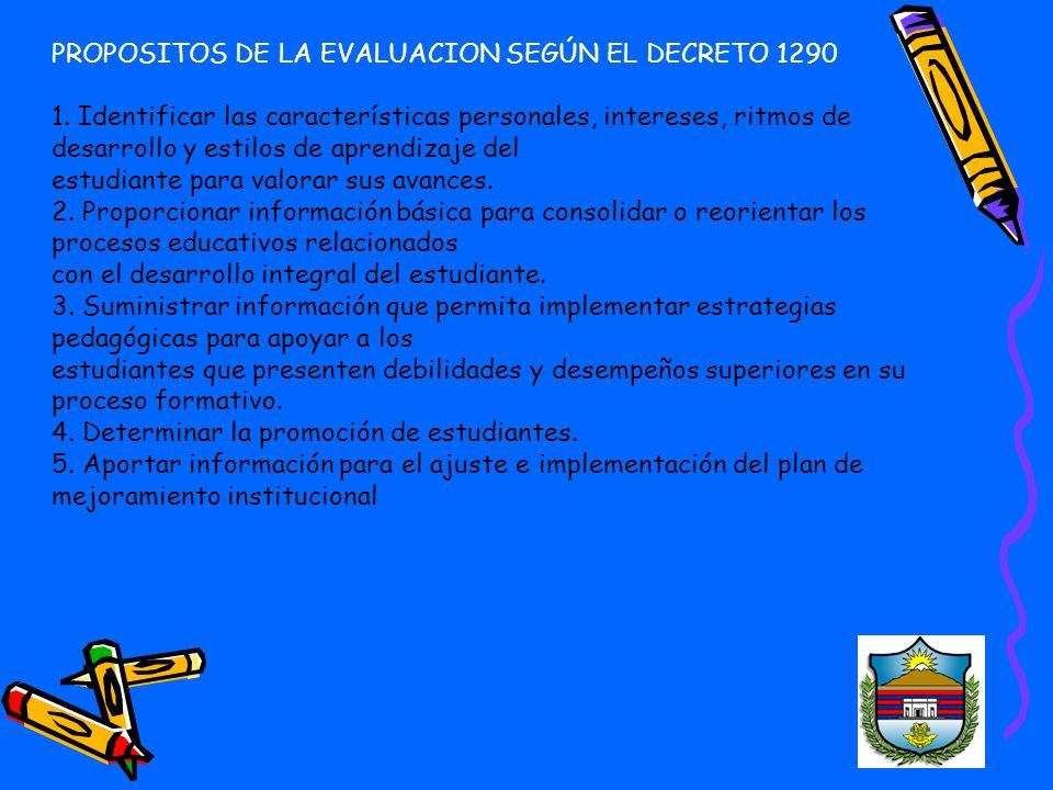 PROPOSITOS DE LA EVALUACION SEGÚN EL DECRETO 1290