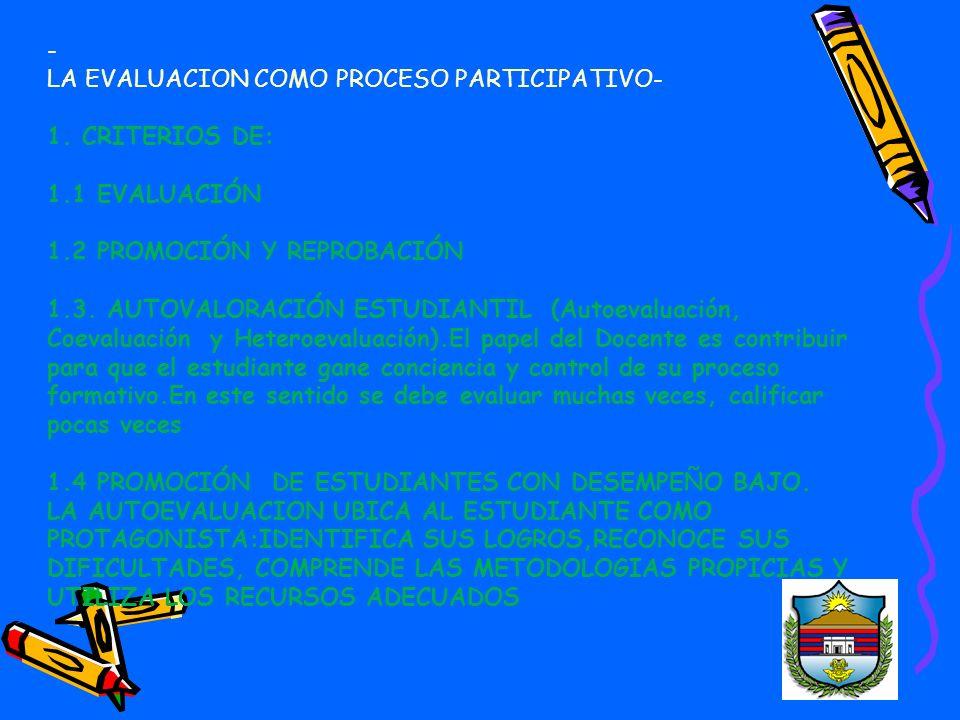 - LA EVALUACION COMO PROCESO PARTICIPATIVO- 1. CRITERIOS DE: 1.1 EVALUACIÓN. 1.2 PROMOCIÓN Y REPROBACIÓN.