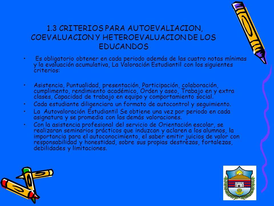 1.3 CRITERIOS PARA AUTOEVALIACION, COEVALUACION Y HETEROEVALUACION DE LOS EDUCANDOS