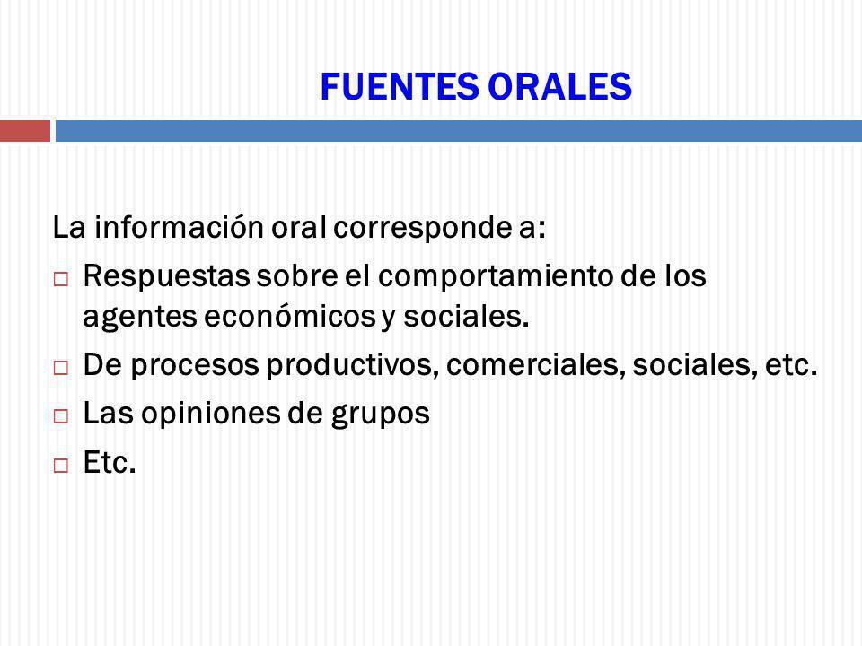 FUENTES ORALES La información oral corresponde a: