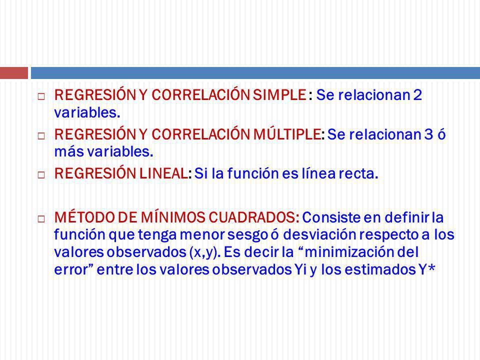 REGRESIÓN Y CORRELACIÓN SIMPLE : Se relacionan 2 variables.