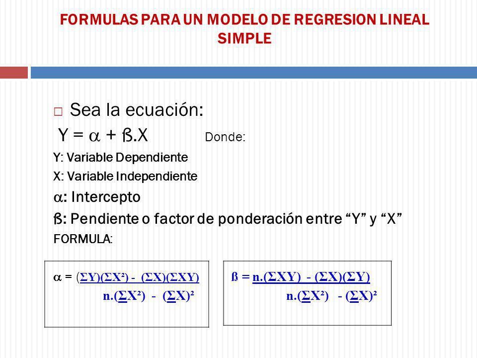 FORMULAS PARA UN MODELO DE REGRESION LINEAL SIMPLE