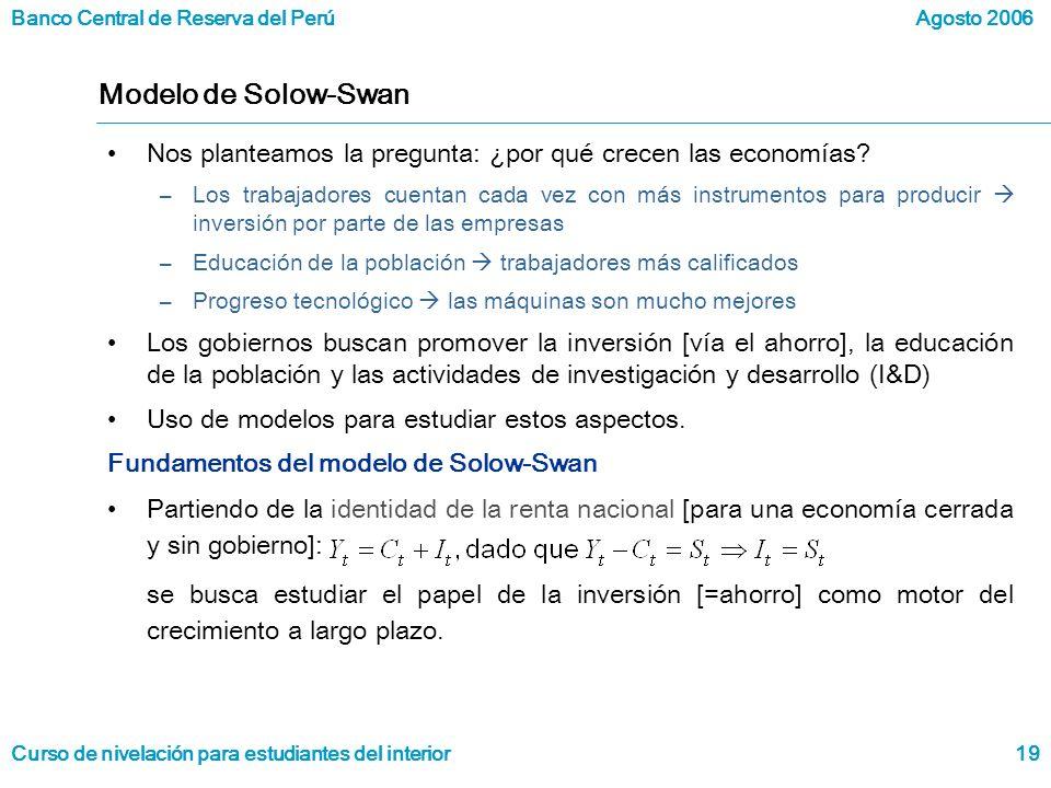 Modelo de Solow-Swan Nos planteamos la pregunta: ¿por qué crecen las economías