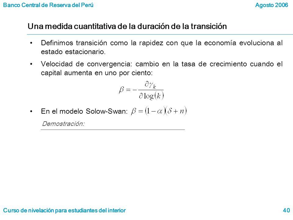 Una medida cuantitativa de la duración de la transición