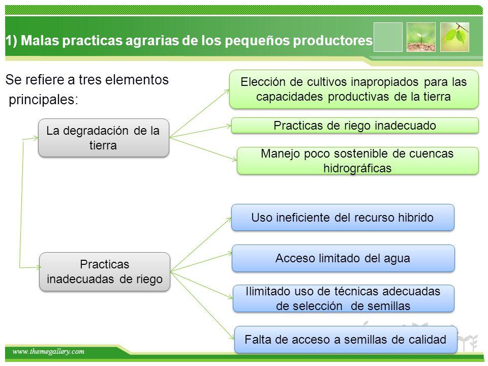 1) Malas practicas agrarias de los pequeños productores Se refiere a tres elementos principales: