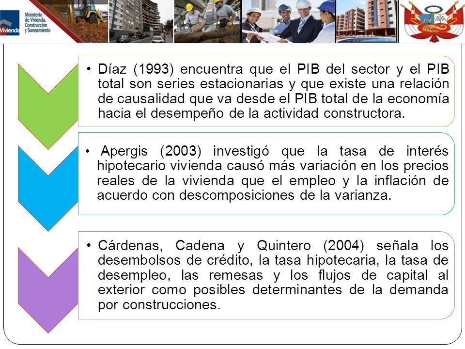 Díaz (1993) encuentra que el PIB del sector y el PIB total son series estacionarias y que existe una relación de causalidad que va desde el PIB total de la economía hacia el desempeño de la actividad constructora.