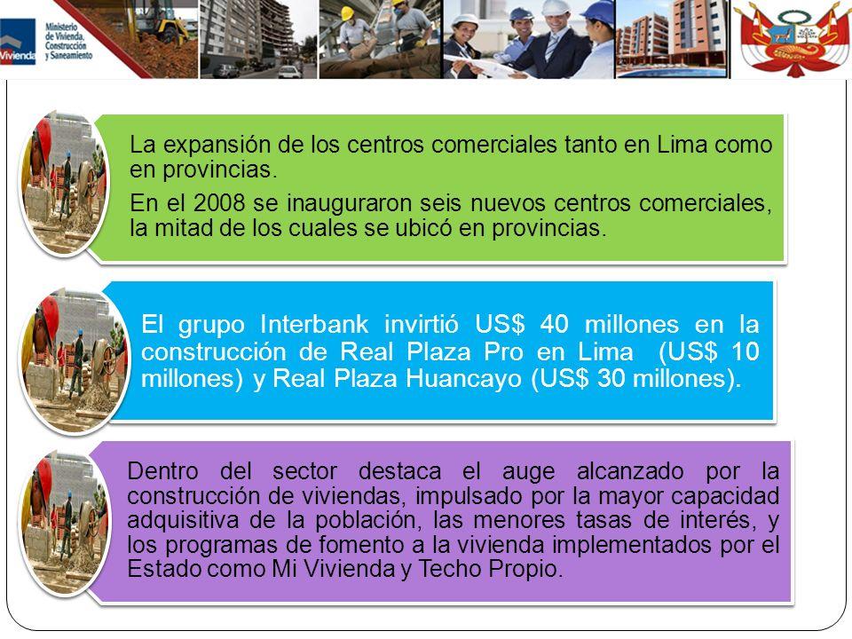 La expansión de los centros comerciales tanto en Lima como en provincias.