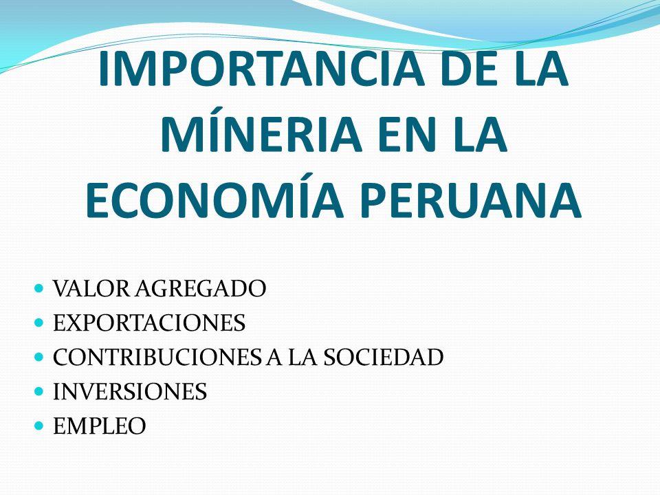 IMPORTANCIA DE LA MÍNERIA EN LA ECONOMÍA PERUANA