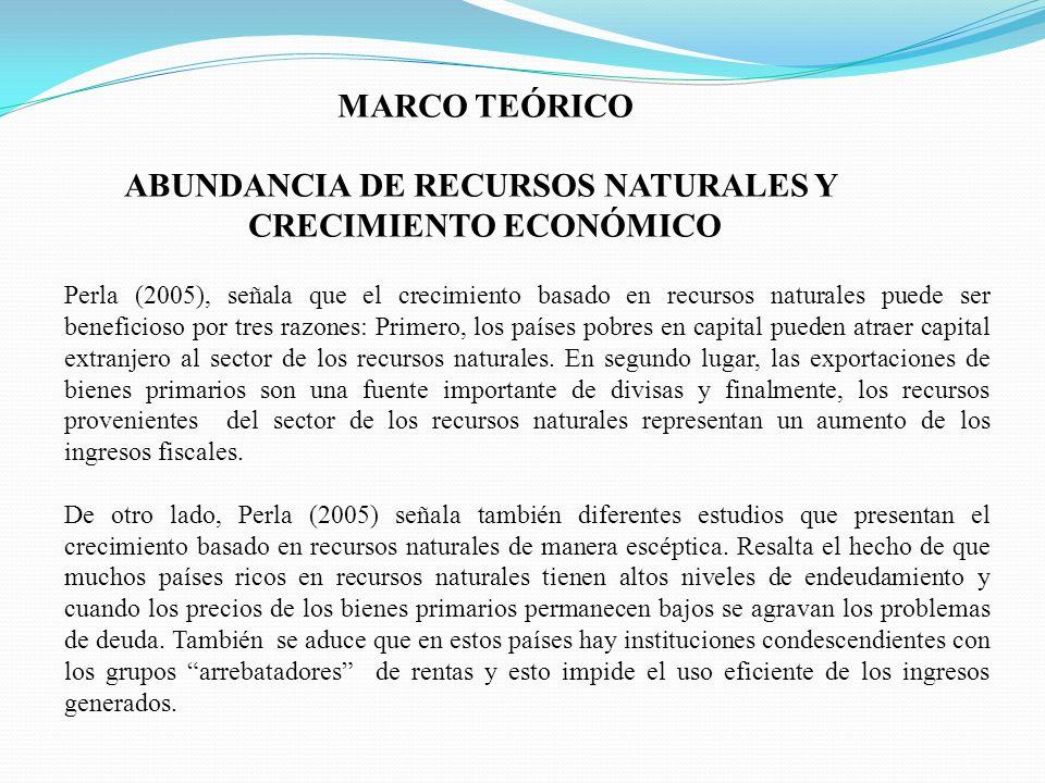 ABUNDANCIA DE RECURSOS NATURALES Y CRECIMIENTO ECONÓMICO