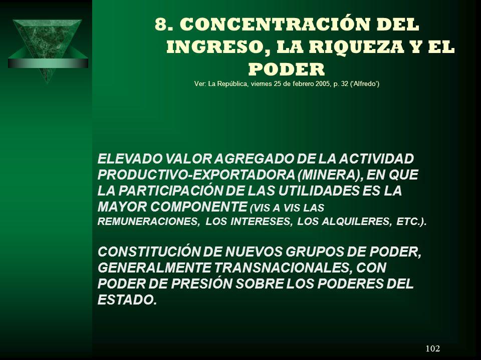 8. CONCENTRACIÓN DEL INGRESO, LA RIQUEZA Y EL PODER Ver: La República, viernes 25 de febrero 2005, p. 32 ('Alfredo')