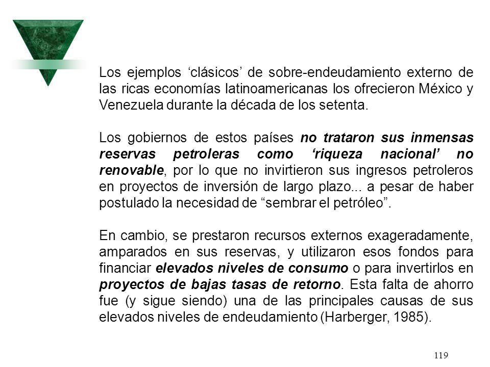Los ejemplos 'clásicos' de sobre-endeudamiento externo de las ricas economías latinoamericanas los ofrecieron México y Venezuela durante la década de los setenta.