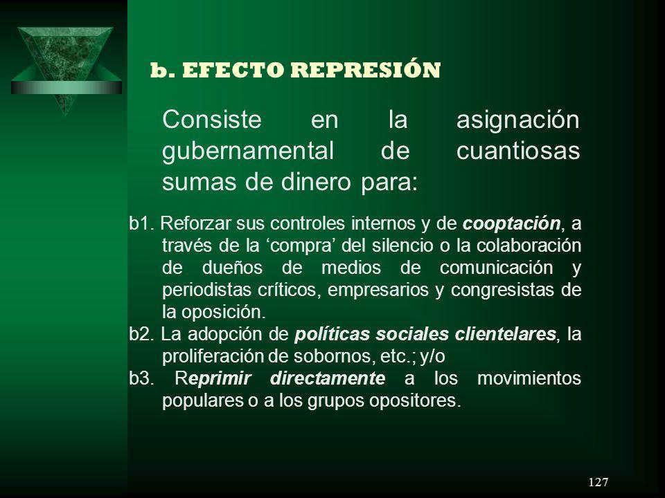 b. EFECTO REPRESIÓN Consiste en la asignación gubernamental de cuantiosas sumas de dinero para: