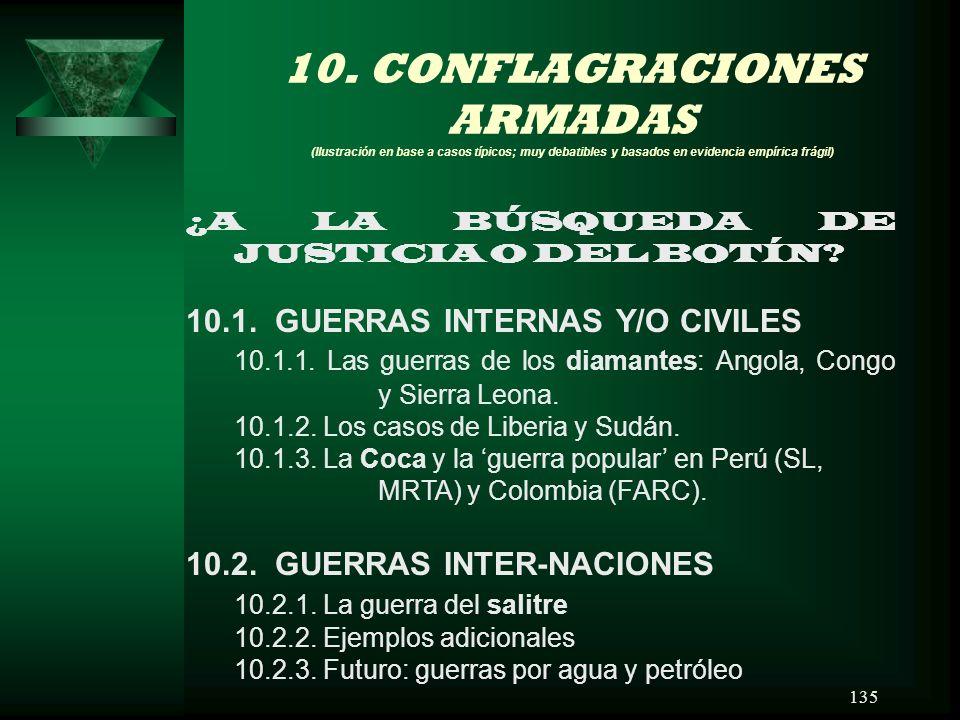 10. CONFLAGRACIONES ARMADAS (Ilustración en base a casos típicos; muy debatibles y basados en evidencia empírica frágil)