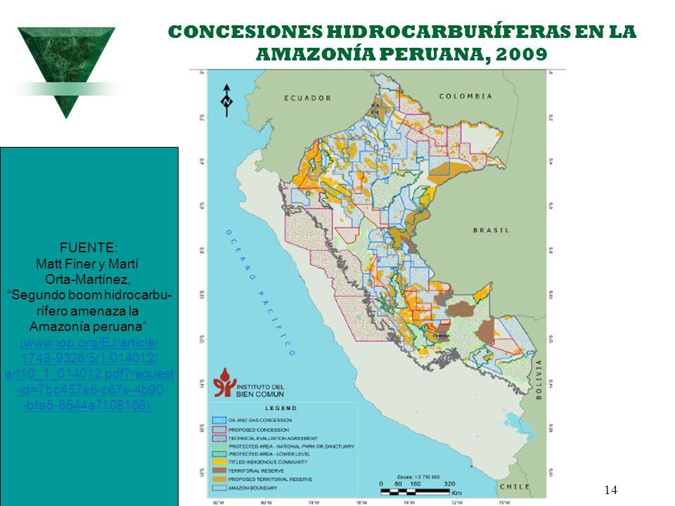 CONCESIONES HIDROCARBURÍFERAS EN LA AMAZONÍA PERUANA, 2009