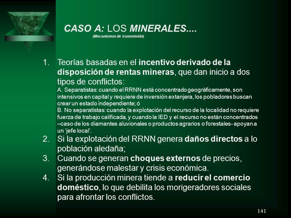 CASO A: LOS MINERALES.... (Mecanismos de transmisión)