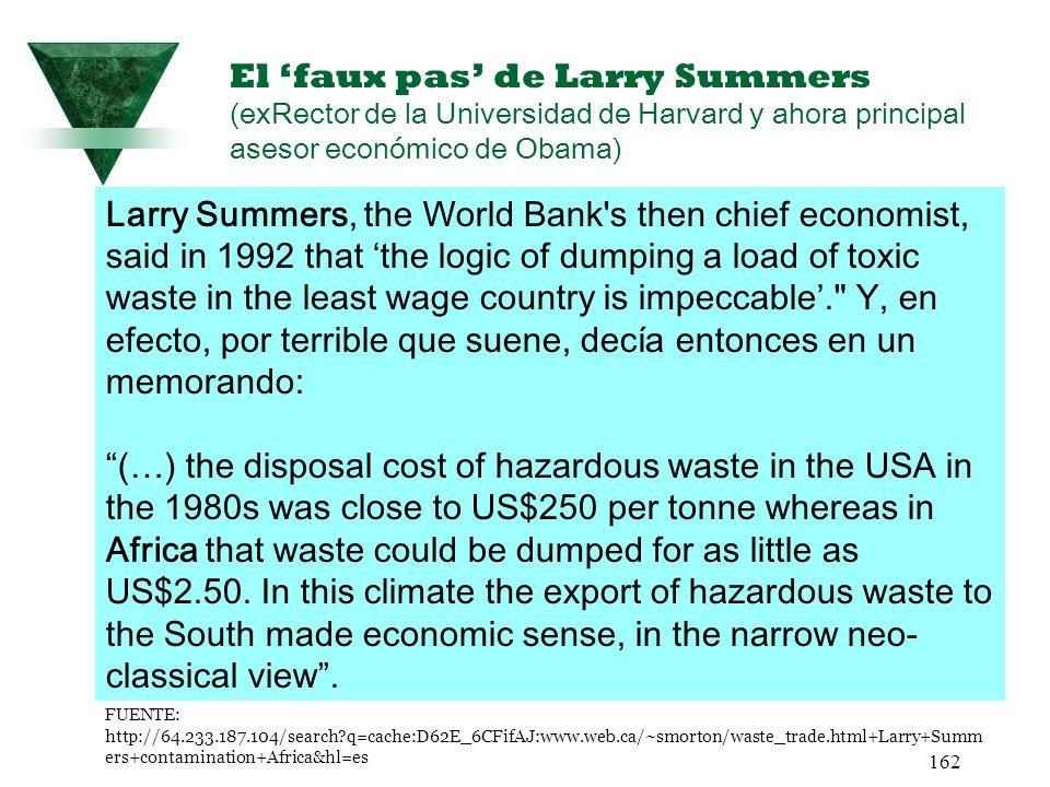 El 'faux pas' de Larry Summers (exRector de la Universidad de Harvard y ahora principal asesor económico de Obama)