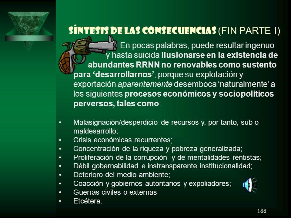 SÍNTESIS DE LAS CONSECUENCIAS (FIN PARTE I)
