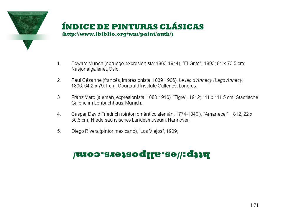 ÍNDICE DE PINTURAS CLÁSICAS (http://www.ibiblio.org/wm/paint/auth/)