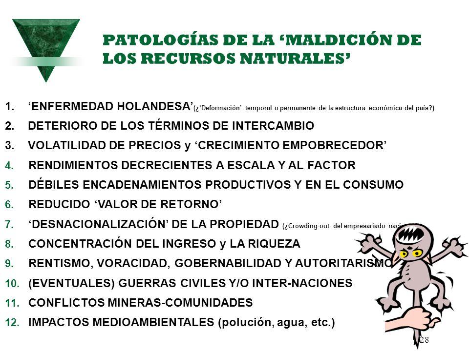 PATOLOGÍAS DE LA 'MALDICIÓN DE LOS RECURSOS NATURALES'