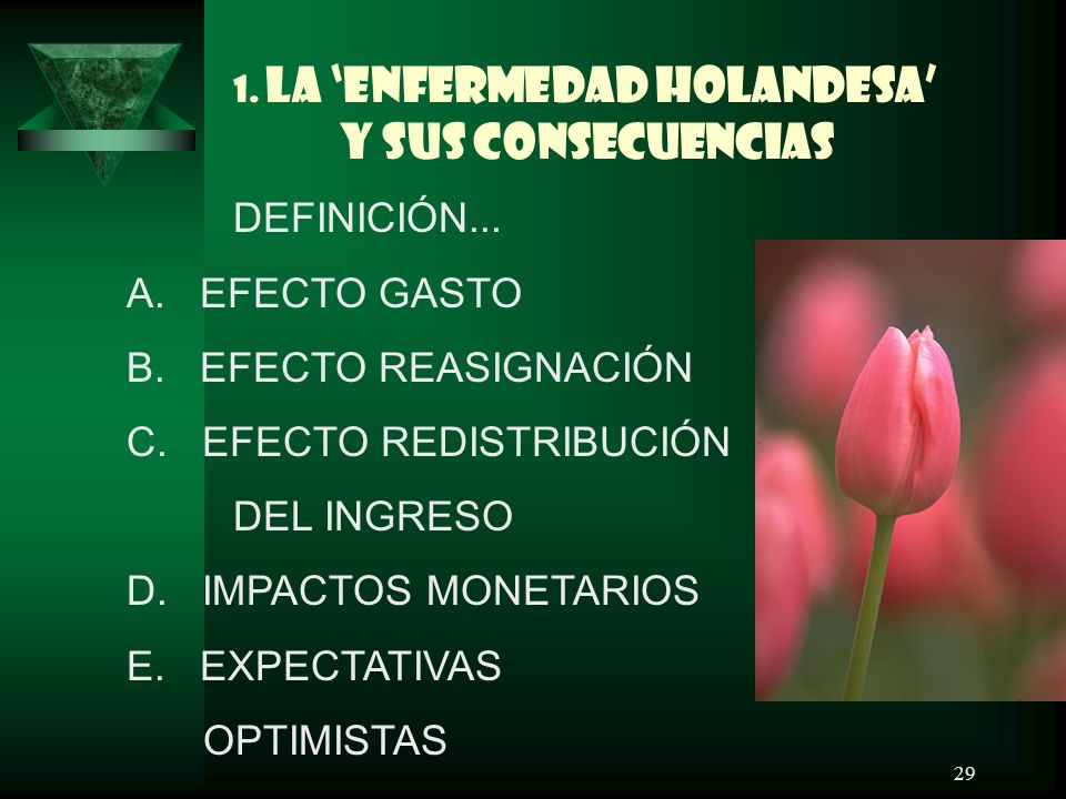 1. LA 'ENFERMEDAD HOLANDESA' Y SUS CONSECUENCIAS