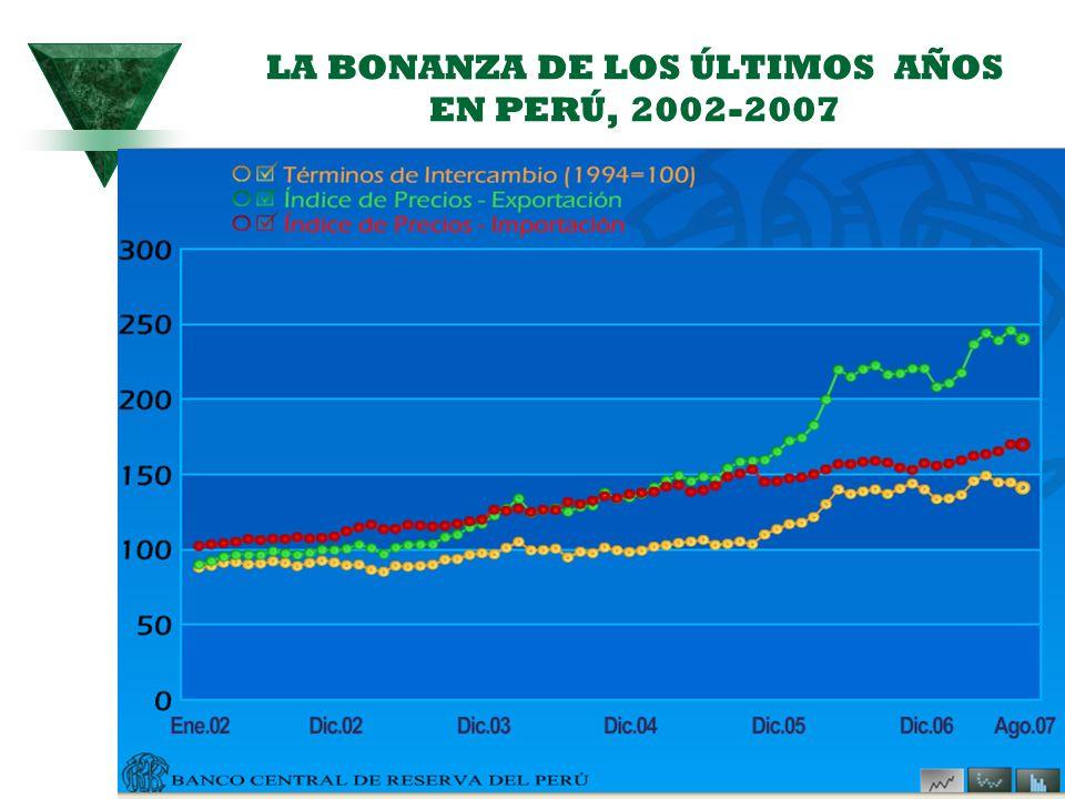 LA BONANZA DE LOS ÚLTIMOS AÑOS EN PERÚ, 2002-2007