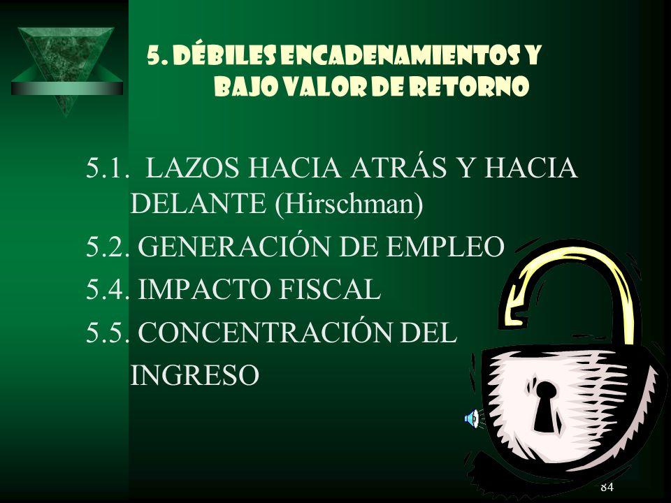 5. DÉBILES ENCADENAMIENTOS Y BAJO VALOR DE RETORNO