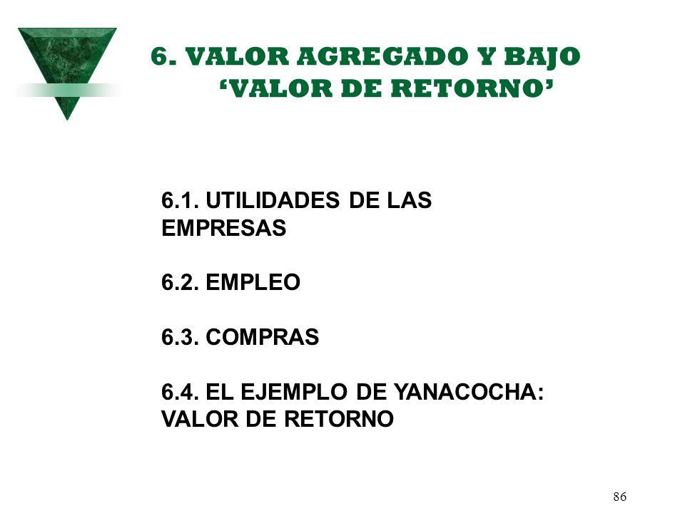 6. VALOR AGREGADO Y BAJO 'VALOR DE RETORNO'
