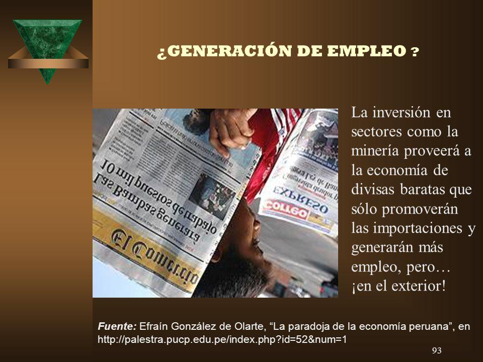 ¿GENERACIÓN DE EMPLEO