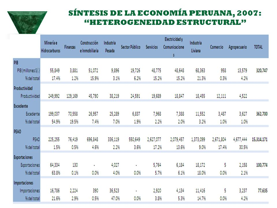 SÍNTESIS DE LA ECONOMÍA PERUANA, 2007: HETEROGENEIDAD ESTRUCTURAL
