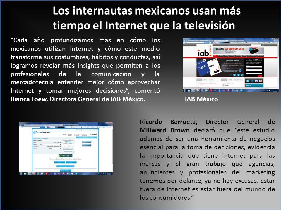 Los internautas mexicanos usan más tiempo el Internet que la televisión