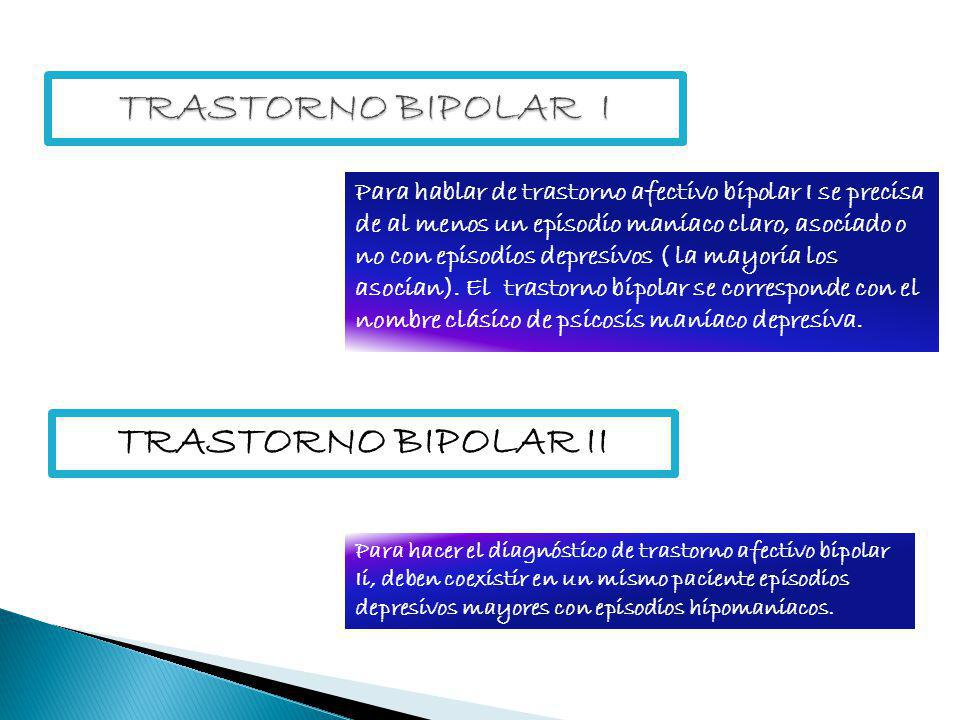 TRASTORNO BIPOLAR I TRASTORNO BIPOLAR II