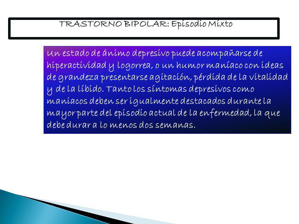 TRASTORNO BIPOLAR: Episodio Mixto
