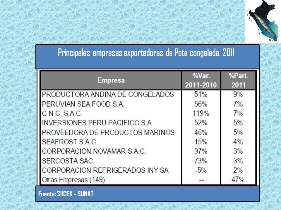 Principales empresas exportadoras de Pota congelada, 2011