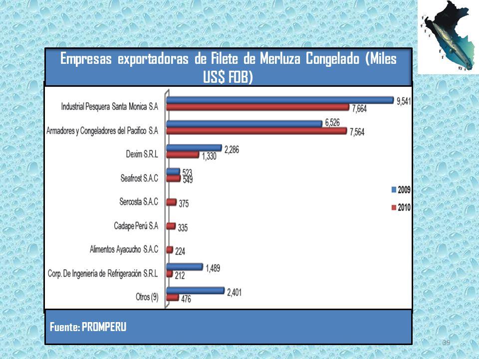 Empresas exportadoras de Filete de Merluza Congelado (Miles US$ FOB)