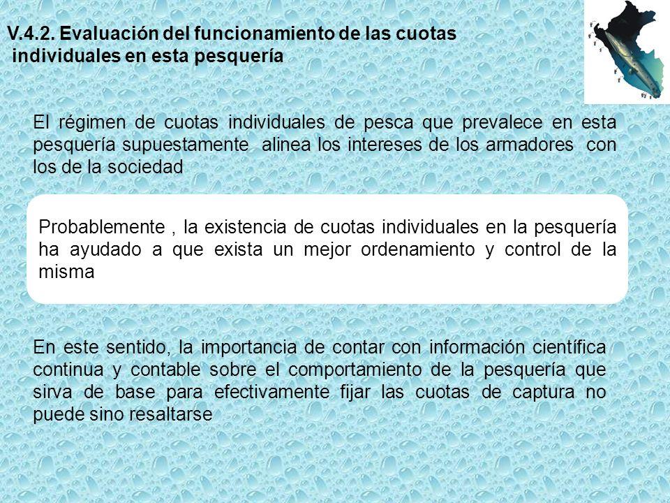 V.4.2. Evaluación del funcionamiento de las cuotas