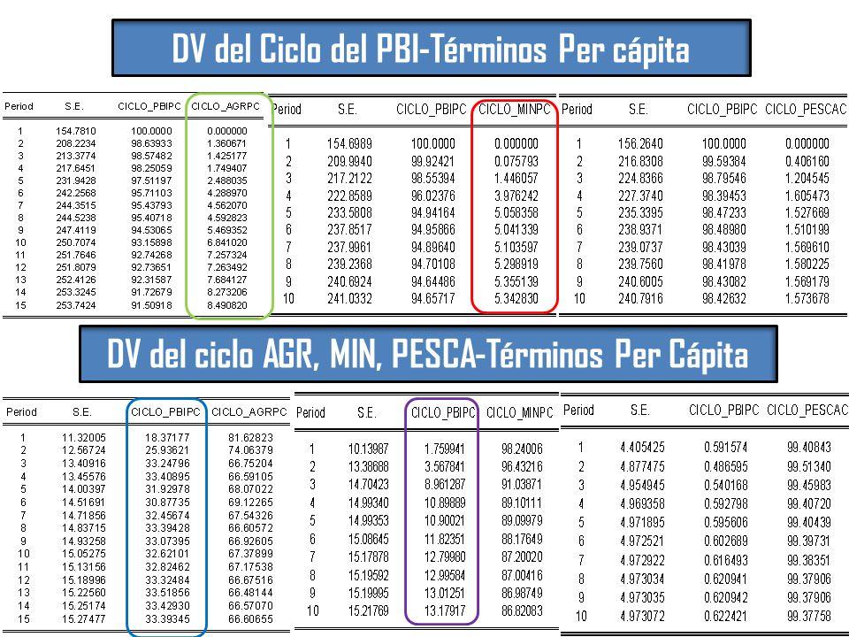 DV del Ciclo del PBI-Términos Per cápita