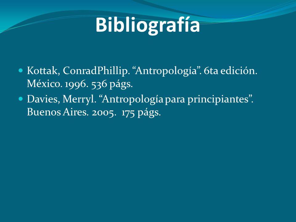 Bibliografía Kottak, ConradPhillip. Antropología . 6ta edición. México. 1996. 536 págs.