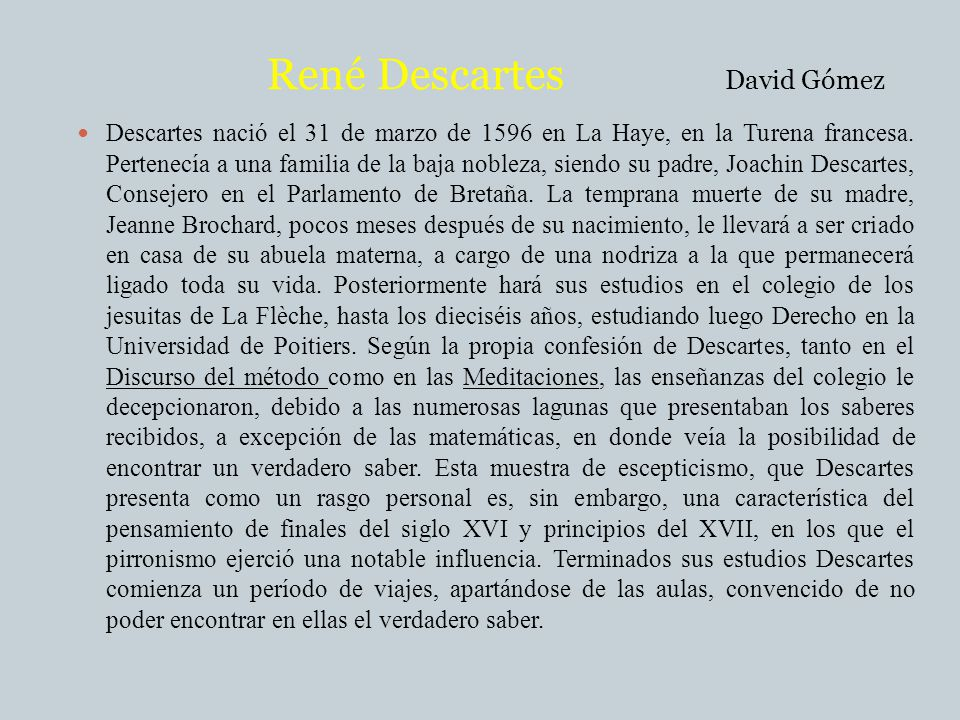 René Descartes David Gómez