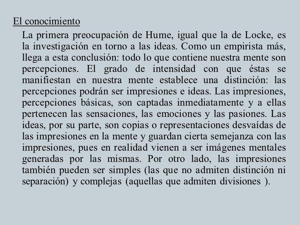 El conocimiento La primera preocupación de Hume, igual que la de Locke, es la investigación en torno a las ideas.