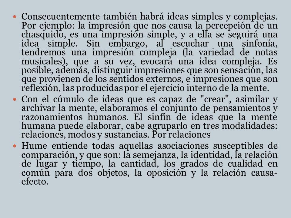 Consecuentemente también habrá ideas simples y complejas