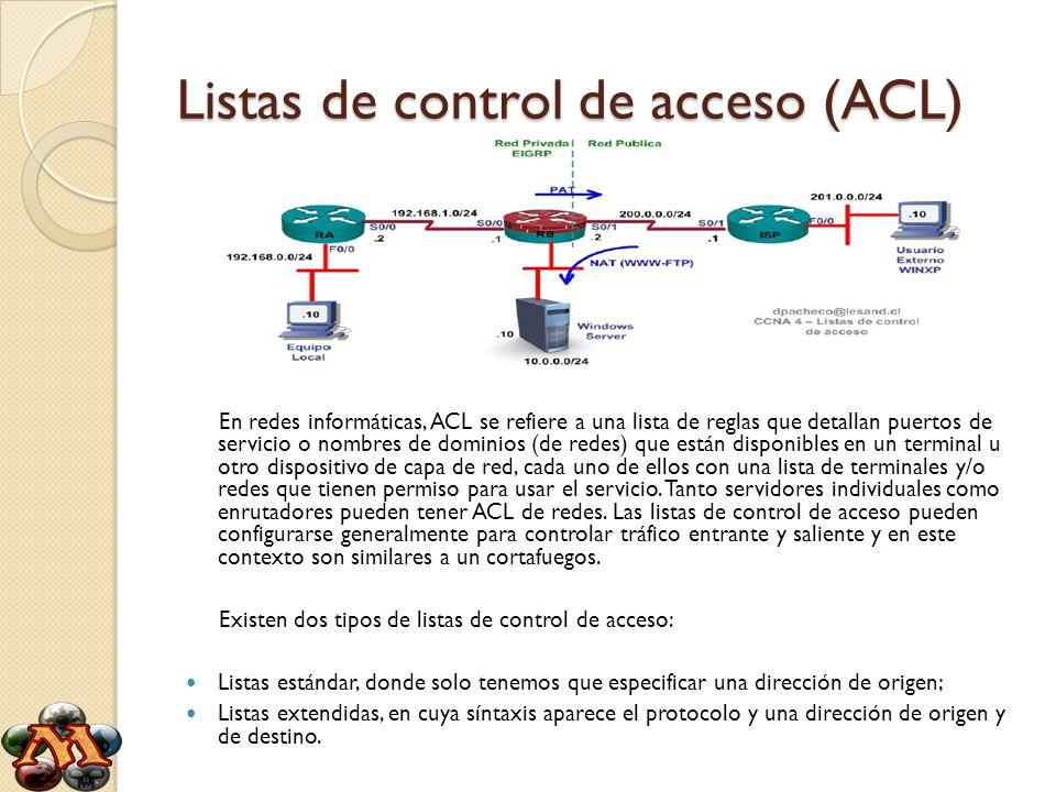 Listas de control de acceso (ACL)