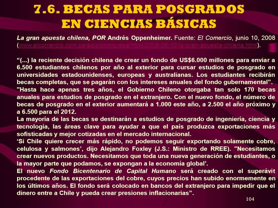 7.6. BECAS PARA POSGRADOS EN CIENCIAS BÁSICAS