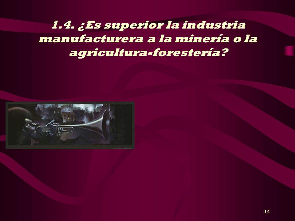 1.4. ¿Es superior la industria manufacturera a la minería o la agricultura-forestería